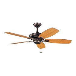 """BUILDER FANS - BUILDER FANS Canfield 52"""" Transitional Ceiling Fan X-BBO711003 - The Oil Brushed Bronze finish is a perfect contrasting hue to the reversible walnut and cherry finishes of the fan blade on this Kichler Lighting ceiling fan from the Canfield Collection."""