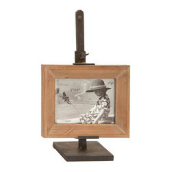 Benzara - Metal Wood Photo Frame 14in.H, 9in.W Unique Home Accents - Made with beach wood and iron alloy Size: 9 in. x4 in. x12 in.