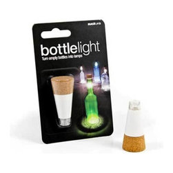 Suck UK - Bottle Light - Don't throw out your empties, transform your bottles into lamps with this rechargeable light. Shaped like a cork with a super bright LED that recharges via USB. Make interesting lights with vintage drinks bottles or create a cozy, improvised table feature. Can also be used outdoors - where the wind will blow out a candle stuck into an old wine bottle.