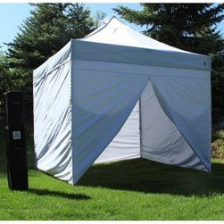 Undercover 10 x 10 Pop Up Commerical Canopy with Wall Enclosure - Cool down this summer under the expansive cover of the Undercover 10 x 10 Pop Up Shade Canopy with Wall Enclosure. This spacious 10 x 10 foot canopy is perfect for sporting events picnics camping and more offering plentiful shade and zero hassle. Set-up is easy the jumbo-sized aluminum legs prop up quickly into one of three height settings and the walls come together effortlessly without having to deal with infuriating velcro straps. Pinch-proof release levers ensure a minimum of accidental ouchies. An included wheel-spin bag -- complete with two exterior pockets -- makes it easy to transport the canopy anywhere. About UndercoverOur twenty year legacy continues today with the evolution of the World's first Personal-Shelter experience. This is what the founders of Undercover have been doing evolving the old steel instant canopy to a new generation of durable lightweight design. Undercover sets itself apart from the competition in two significant ways high user mobility along with incredible ease-of-operation. The Popup-Shade™ packs advanced aluminum reinforcement technology under-the-hood allowing one-person operation in seconds. Offerings that are 50% lighter than the old-school steel models yet stronger in design and function.