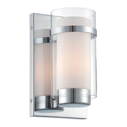 Lite Source - Tullio Chrome One-Light Wall Sconce - - This modern wall sconce showcases a crystal clear outer glass shade that interacts with an inner frosted glass shade. Detailed with gleaming chrome hardware and base, this wall sconce can enhance any hallway, bedroom or entry way.  - Includes Two Electrical Outlets  - Shade Color: Clear and Frosted  - Shade Material or Composition: Glass  - Bulb Is Not Included  - 1 Year Warranty Lite Source - LS-16366