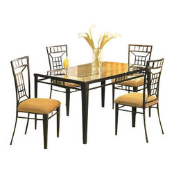 "Acme - 5-Piece Metal and Glass Dining Table Set with Stone Inlay On Table and Chairs - 5-Piece metal and glass dining table set with stone inlay on table and chairs, This set features a black metal frame table with stone inlay on top with a beveled glass top on top, stone inlay in the back of the metal frame chairs with fabric upholstered seats. Table measures 36"" x 60"", chairs measure 40"" H at the back. Some assembly required."