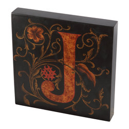 Brandi Renee Designs - Handpainted Wall Art, Red Letter J Wood Tile - This hand painted wall piece in deep red and gold is one of a three piece grouping spelling JOY. This one is the letter J of the group.
