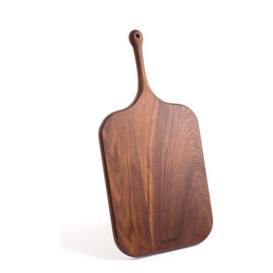 De JONG & Co. - Black Walnut Serving Board No. 1 - Hand-shaped black walnut. Leather hanging loop. Hand-carved cutout. Food safe. Fully seasoned with walnut oil and wax finish. Products are made to order which can result in longer lead times.