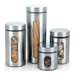 Cook N Home - Cook N Home 4-piece Glass Canister with Stainless Window Set - Store herbs,spices and more with this four-piece glass canister set. Each piece of the set is a different size,allowing you to easily match each canister to whatever you desire to keep inside,and a window lets you easily verify the contents.