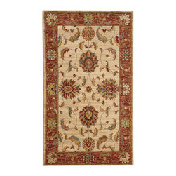 """Nourison - Nourison Living Treasures LI04 2'6"""" x 4'3"""" Ivory Red Area Rug 66803 - Whirling and swirling in elegant arabesques, this beautifully woven floral design puts a new spin on tradition. Lush flowerheads burst with life on a field of pure, pristine ivory, dramatically accented with details in golden brown, papyrus and persimmon."""