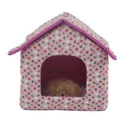 "Favorite - Favorite Oxford Fabric Pet House, Small Pink Heart - This bed includes 3 pieces: a roof, a house body and a cushion. The collapsible pet house with zipper provides stylish, comfortable and secure resting place for your pets. The polyester cover is hair-resistant and easy cleaning, breathable in summer. Color: Pink heart. Size: 17"" L x 17.5"" W x 18.5"" H."