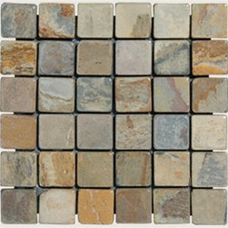 "Indian Autumn Tumbled Mesh-Mounted Slate Mosaic Tiles 2"" x 2"" - 2"" x 2"" Indian Autumn Mesh-Mounted Slate Mosaic Tile is a great way to enhance your decor with a traditional aesthetic touch. This Tumbled Mosaic Tile is constructed from durable, impervious Slate material, comes in a smooth, unglazed finish and is suitable for installation on floors, walls and countertops in commercial and residential spaces such as bathrooms and kitchens."