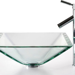 Kraus - Kraus C-GVS-901-19mm-1002SN Clear Aquamarine Glass Vessel Sink and Sheven Faucet - Add a touch of elegance to your bathroom with a glass sink combo from Kraus