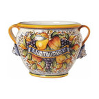 Artistica - Hand Made in Italy - FRUTTA: Large Tuscan cachepot ''Aq. Di Malva'' - In typical Frutta fashion, our exclusive Artistica pattern brims with a festive display of fruit.