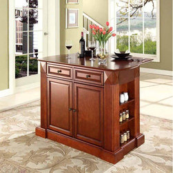 Crosley - Kitchen Island - Constructed of solid hardwood and wood veneers, this kitchen island is designed for longevity. The handsome raised panel doors and drawer fronts provide the ultimate in style to dress up any culinary space. Raise the drop leaf to expand your serving space, or just sit at the breakfast bar and eat your meal. Behind the doors, you will find adjustable shelves and an abundance of storage space for objects you'd prefer to keep hidden. Open storage on both ends provides easy access to frequently used items, and is perfect for displaying decorative objects. Raised diamond accents and fluted pilasters are sure to impress your guests. Style, function, and quality make this kitchen island a wise addition to your home. Features: -Sculpted edges on each end of top.-Drop leaf for additional space or dining.-Open storage with adjustable shelves on each end.-Raised panel doors, drawers and side panels.-Product Type: Drop leaf island.-Collection: Coventry.-Hardware Finish (Base Finish: Black): Brushed nickel.-Hardware Finish (Base Finish: Classic Cherry): Antique brass.-Hardware Finish (Base Finish: White): Brushed nickel.-Distressed: No.-Powder Coated Finish: No.-Gloss Finish: No.-Base Material: Hardwood and veneers.-Hardware Material: Steel.-Solid Wood Construction: No.-Exterior Shelves: Yes -Number of Exterior Shelves: 3.-Adjustable Exterior Shelving: Yes..-Drawers Included: Yes -Number of Drawers: 2.-Push Through Drawer: Yes.-Dovetail Joints: No.-Drawer Dividers: No.-Drawer Handle Design: Knob.-Silverware Tray : No..-Cabinets Included: Yes -Number of Cabinets : 1.-Double Sided Cabinet: No.-Number of Interior Shelves: 2.-Adjustable Interior Shelves: Yes.-Number of Doors: 2.-Magnetic Door Catches: Yes.-Locking Doors: No.-Door Handle Design: Knob..-Towel Rack: No.-Pot Rack: No.-Cutting Board: No.-Drop Leaf: Yes.-Drain Groove: No.-Trash Bin Compartment: No.-Stools Included: No.-Casters: No.-Wine Rack: No.-Stemware Rack: No.-Cart Handles: No.-Finished Bac