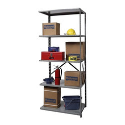 Hallowell - 87 in. High Hi-Tech Medium-Duty Open Shelving in Gray - Adder (48 in. W x 12 in. - Depth: 48 in. W x 12 in. D x 87 in. H. Great addition to Hi-Tech  medium-duty open shelving starter unit. Open style with sway braces. 5 Adjustable shelves. Fabricated from cold rolled steel. Welds are spaced 3 in. on center to provide maximum strength. Sides are triple flanged to form a channel. All 4 corners are lapped and resistance welded to provide a rigid corner and add extra strength to the shelf. Tubular front edge is designed to protect against impact loads. 48 in. W x 12 in. D x 87 in. H. 48 in. W x 18 in. D x 87 in. H. 48 in. W x 24 in. D x 87 in. H. Assembly required. 1-Year warranty