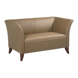 Office Star - OSP Furniture Lounge Seating Taupe Leather Loveseat with Cherry Finish Legs - Taupe leather love seat with cherry finish legs. Rated for 500 lbs. shipped assembled with legs unmounted.