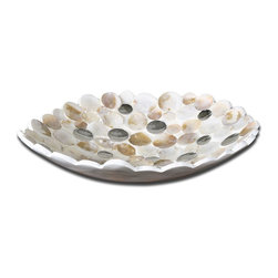 Capiz Shell And Mirror Decorative Bowl - *Capiz shell accented with concave mirrors and a matte white exterior.