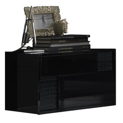 Rossetto - Rossetto Nightfly Left Night Stand in Black - Rossetto - Nightstands - T412500010028 - Comfort and functionality, opacity and reflections provide a warm and sensual interior with Art Deco appeal: note the bedside table with a drawer lined with a crocodile finish.