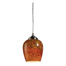 ELK Lighting - One Light Satin Nickel Autumn Glass Down Pendant - One Light Satin Nickel Autumn Glass Down Pendant