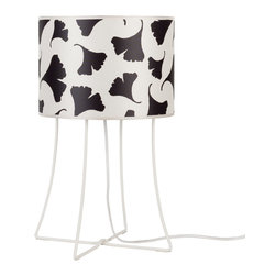 Lights Up! - Virgil Table Lamp, Black Gingko Leaf - Take your pick for this leggy table lamp — a playful pattern or a simply chic solid. Designed by Rachel Simon, it brings light and easy elegance to your favorite setting.