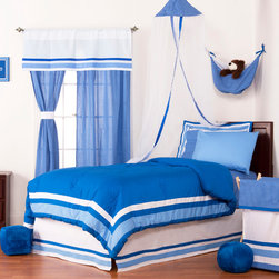 "Simplicity Blue - Full Set (8pc) - Let your personality come to life in a room filled with sophistication and style.  Simplicity Blue is nothing too simple for you!  Beautiful hues of blue with white throughout make the most of this set.  This 8pc set includes full comforter, full bed skirt, full flat sheet, full fitted sheet, 2 standard pillowcases, 2 standard flanged pillow shams. Comforter comes a beautifully framed design in shades of dark blue, light blue and white.  Opposite side is in solid darker blue.  All in cotton print fabric. Flat and fitted sheets come with our signature ""Blue Dots"" cotton print fabric.  Standard pillowcase comes in solid blue and trim in ""Blue Dots"" cotton print fabrics.    Bed skirt designed with lines of white and both color blues in cotton print fabric. Standard flanged sham designed to replicate comforter in design.  All in cotton print fabric.  SAVE WHEN YOU BUY AS A SET!"