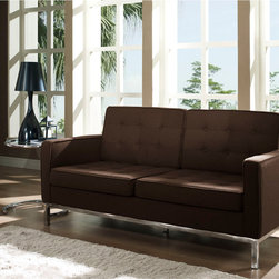 Florence Style Brown Wool Loft Loveseat - The Wool Loft Loveseat offers a stunning and luxurious look that will instantly enhance any space. This mid-century modern wool love seat is inspired by the designs of Florence Knoll 1954 lounge collection, and has a recognizable mid-century modern style.The simple style of the Loft Loveseat in wool upholstery makes for a clean, sharp look. Tufted accents create a beautiful pattern, and the couch's low profile makes the loft sofa an ideal item small space. Features a polished stainless steel frame, and high quality wool cushions that attach by velcro to the back.This item is a high quality reproduction of the original.