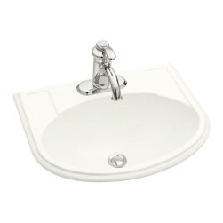 KOHLER - KOHLER Devonshire Self-Rimming Lavatory with Single-Hole Faucet Drilling - KOHLER K-2279-1-0 Devonshire Self-Rimming Lavatory with Single-Hole Faucet Drilling in White