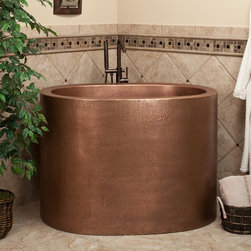 """48"""" Raksha Copper Japanese Soaking Tub - Pamper yourself with a long, luxurious soak in this extra-deep, Japanese style Antique Copper bathtub."""