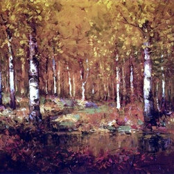"""Julian Onderdonk Autumn Birches, Central Park  Print - 16"""" x 24"""" Julian Onderdonk Autumn Birches, Central Park premium archival print reproduced to meet museum quality standards. Our museum quality archival prints are produced using high-precision print technology for a more accurate reproduction printed on high quality, heavyweight matte presentation paper with fade-resistant, archival inks. Our progressive business model allows us to offer works of art to you at the best wholesale pricing, significantly less than art gallery prices, affordable to all. This line of artwork is produced with extra white border space (if you choose to have it framed, for your framer to work with to frame properly or utilize a larger mat and/or frame).  We present a comprehensive collection of exceptional art reproductions byJulian Onderdonk."""