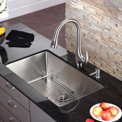 Kraus - Kraus KHU100-32-KPF2170-SD20 Single Basin Undermount Kitchen Sink with Faucet Mu - Shop for Kitchen from Hayneedle.com! Running smooth in design and style the Kraus KHU100-32-KPF2170-SD20 Single Basin Undermount Kitchen Sink with Faucet is just the way to put a new face on your kitchen set. The faucet operates with just a single handle while the spout pulls down to double as a strong sprayer for rinsing dishes and produce. You can trust in the stainless steel construction to take on corrosion even years down the line.Product SpecificationsBowl Depth (inches): 10Weight (pounds): 34Low Lead Compliant: YesEco Friendly: YesMade in the USA: YesHandle Style: LeverValve Type: Ceramic DiscFlow Rate (GPM): 2.2Spout Height (inches): 8.46Spout Reach (inches): 9.84About KrausWhen you shop Kraus you'll find a unique selection of designer pieces including vessel sinks and faucet combinations. Kraus incorporates its distinguished style with superior functionality and affordability while maintaining highest standards of quality in its vast product line. The designers at Kraus are continuously researching and exploring broader markets seeking new trends and styles. Additionally durability and reliability are vital components at Kraus for developing high-quality fixtures. Every model undergoes rigorous testing and inspection prior to distribution with customer satisfaction in mind. Step into the Kraus world of plumbing perfection. With supreme quality and unique designs you will reinvent how you see your bathroom decor. Let your imagination become reality!