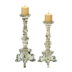 """BZBZ20408 - Wooden Candle Holder in Contemporary Rubbed Finish - Set of 2 - Wooden Candle Holder in Contemporary Rubbed Finish - Set of 2. Featuring an elegant design, this wooden candle holder includes a set of candle holders that are detailed to perfection. It is available in 2 size variants - 17""""H x 8""""W x 8""""D, 20""""H x 8""""W x 8""""D."""