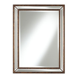 """Uttermost - Traditional Uttermost Palais Beaded 40"""" High Bronze Wall Mirror - With the look of a treasured antique accent this elegant wall mirror will add panache and style to your home decor. A wide frame of mirror glass is set apart from the main mirror by beaded details in mottled bronze finish. Bevels on both the frame and main mirror glass are an elegant touch to this exclusive mirror design from Uttermost. Traditional mirror frame wall mirror. Mottled bronze finish beaded frame details. Beveled mirror glass.  MDF frame construction. 40"""" high 30"""" wide. Mirror glass only is 33"""" high 23"""" wide.  Mottled bronze finish beaded frame details.   Beveled mirror glass.    MDF frame construction.   40"""" high 30"""" wide.   Mirror glass only is 33"""" high 23"""" wide.   This large item must be shipped by truck."""