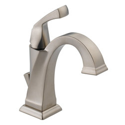 Delta - Delta 551-SS-DST Dryden Single Handle Centerset Bathroom Faucet with Diamond Sea - Delta 551-SS-DST Dryden Single Handle Centerset Bathroom Faucet with Diamond Seal Technology in StainlessThe clean lines and geometric forms of the Dryden Collection are based on style cues of the Art Deco period.  Delta's exclusive DIAMOND™  Seal Technology uses a valve with a tough diamond coating to bring you a faucet built to last up to five million uses.  Plus, it keeps water inside the faucet out of contact with potential metal contaminants. With its durable components and simple construction, a DIAMOND™ Seal Technology faucet lasts 10 times longer than the industry standard.  The simple, yet sophisticated design, when combined with multiple finish options, creates style flexibility that's at home in settings from old-world to arts and crafts to modern.Delta 551-SS-DST Dryden Single Handle Centerset Bathroom Faucet with Diamond Seal Technology in Stainless, Features:• Diamonds are the hardest substance known to man, and DIAMOND™ Seal Technology takes full advantage of this property. Delta's exclusive DIAMOND™ Seal Technology uses a valve with a tough diamond coating to bring you a faucet built to last up to 5 million uses – plus it keeps water inside the faucet out of contact with potential metal contaminants.