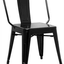 "Chintaly Imports - Alfresco Galvanized Steel Side Chair in Black - Set of 4 - Alfresco Galvanized Steel Side Chair in Black - Set of 4; Galvanized steel; Indoor and Outdoor use; Fully assembled; Multi Color Options; Dimensions:20.28""W x 21.26""D x 32.87""H"