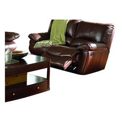 Coaster - Coaster Clifford Recliner in Brown Leather Match - Coaster - Recliners - 600283 -This Recliner by Coaster comes in beautiful brown leather match. This durable and comfortable motion sofa features padded arms, rocker recliner and kidney support back. It features hardwood frame, sinuous spring base, webbing in the back.