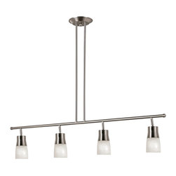 Trans Globe Lighting - Trans Globe Lighting Contemporary Ceiling Track Light X-NB 408-W - It doesn't get any simpler than this Trans Globe Lighting contemporary ceiling track light. It's an attractive fixture, with the sleek and straight lines of the frame that supports four cylindrical, opal glass shades. The streamlined design gives this piece a clean and crisp appearance that's perfect for both residential and commercial spaces.