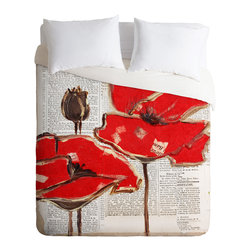 DENY Designs - Irena Orlov Red Perfection Duvet Cover - Turn your basic, boring down comforter into the super stylish focal point of your bedroom. Our Luxe Duvet is made from a heavy-weight luxurious woven polyester with a 50% cotton/50% polyester cream bottom. It also includes a hidden zipper with interior corner ties to secure your comforter. It's comfy, fade-resistant, and custom printed for each and every customer.