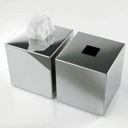 Modo Bath - Harmony Mat Stainless Steel Tissue Box - Harmony 510 Tissue Box in Mat Stainless Steel, Tissue Box In Mat Stainless Steel, Free Standing, Made in Germany