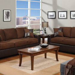 Modern Chocolate Microfiber Sofa Couch Loveseat Living Room Set Pillow - This sofa and loveseat collection merges abstract style, versatility and sophistication together forming home furnishings setting the trend. Its cushions are adorned in smooth and plush microfiber and framed on the lower panels and arm in a deep dark brown faux leather. This collection provides a grand solution to any dull living space with its fine decor. Available in a variety of colors.