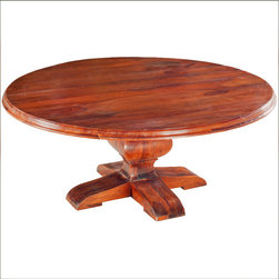 """84"""" Solid Wood Large Sierra Round Dining Table For 10 People - A round table adds an instant elegance to any room. Our Santa Fe Mission Pedestal Table is handcrafted with extra attention to details. The 84"""" dining table can easily seat 10 adults. The four-footed pedestal creates extra stability and extra leg space."""