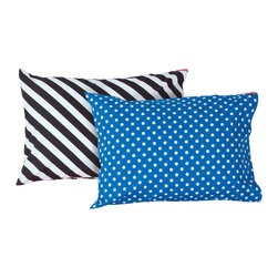 SWENYO - Blue Polka Dot and Black & White Stripe Pillow Case Set - Same is lame. Our unique pillowcases will add color and personality to any space. Hand-selected by our team of designers, this contrasting pillowcase set has vibrant colors and an incredibly soft feel finished with our signature red SWENYO tag.
