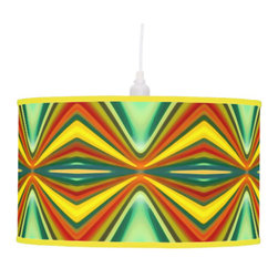 Fury Pattern 8 Green Pendant Lamp - Create a statement piece that will add instant style to your home décor with Abstract Art Lamps created form original artwork by Amy Vangsgard. Choose your trim and base for a special, one-of-a kind home accent. Choose from film polyester, rice paper, or linen lamp shades that are printed in vibrant color with fade resistant ink.