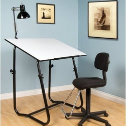 Studio Designs 3 Piece Tech Workstation - Set includes drawing table, chair, lamp and art trayWhat We Like About the 3-piece Work StationCreate a solid and stable work station with this set. The drawing table is strong and durable, and a stabilizer bar keeps it steady for you. You can work at the perfect height because of the adjustable table top and pneumatic drafting chair. Plus, the chair moves around on five casters. Reduce eye strain by illuminating your work with the swing arm lamp that clamps onto the table. Table is white on one side and black on the other side so you chose which is right for you.