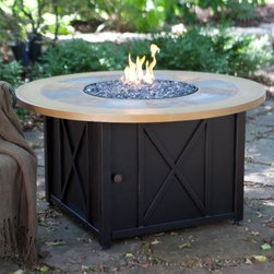 UniFlame Round LP Gas Outdoor Firebowl with Slate and Faux Wood Mantel - Come on out and gather 'round ... the backyard has a new inviting warmth with the UniFlame Round LP Gas Outdoor Firebowl with Slate and Faux Wood Mantel at its heart. This round fire table places a uniquely weather-resistant slate tile and faux wood tabletop on a steel base that hides its fiery belly. Open the access door and slide out the 20 lb. LP tank with it's convient tank drawer. It puts out up to 30 000 BTUs through a stainless steel burner in the bottom of the firebowl covered with elegant fire rock for a look that's hard to forget. A tank and fire pit cover is included. About Blue Rhino/Uniflame/Endless Summer: Blue Rhino Global Sourcing Inc. is America's #1 propane tank exchange brand but it doesn't stop there. Blue Rhino is a leading designer and marketer of outdoor appliances and fireplace furnishings. These products include barbecue grills outdoor heaters outdoor fireplaces mosquito traps and fireplace furnishings. You'll find a Blue Rhino product in the middle of half a billion barbecue events nationwide every year. They come under various brand names including UniFlame Endless Summer and SkeeterVac.