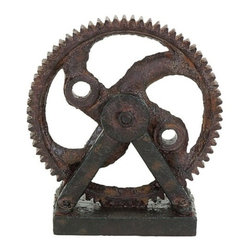 Benzara - Industrial Style Rusted Gear Decor - Industrial style Rusted Gear Decor. A sharp and defined piece of decor perfect for any shelf or tabletop. This industrial style gear is cast in polystone with incredible detail in the gear teeth and faux rusted texture. Place it perfectly on the bookshelf or on the fireplace mantle. But it's also useful as a paperweight in the home office or as book ends on the end table.