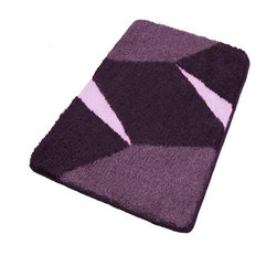 Purple Non Slip Contemporary Bathroom Rugs, Extra Large - Luxury extra large purple bathroom rug with a bold contemporary geometric design.  Non-slip / non-skid backing provides extra grip in any bathroom.  Plush densely woven .91in pile bath mat designed specifically for the bathroom.  Machine wash in warm water, fluff dry in dryer.  Made in Germany
