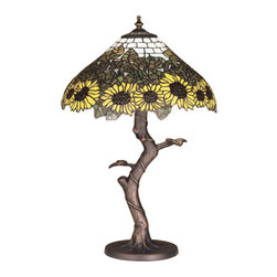 """Meyda Tiffany - 23.5""""H Wild Sunflower Table Lamp - A field of sparkling Country Brown eyed, Farm Yellow sunflowers growing on stalks of summer Bronzed Green leaves, edge these Meyda original Tiffany style Sky-blue tiled shade. Bring nature into your home with this hand cut and copper foiled stained glass shade setting atop a twisting branch table lamp base in a hand applied Mahogany Bronze finish."""
