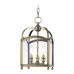 """Hudson Valley - Hudson Valley Millbrook 8 1/2"""" Wide Aged Brass Pendant Light - Largely influenced by traditional candle lanterns the Millbrook Collection is tastefully classic. This updated pendant light has a squared aged brass finish frame that encloses three candelabra style bulbs behind clear glass. Balled feet add to the timeless style and give the impression that the """"lantern"""" is portable. From Hudson Valley Lighting. Aged brass finish. Clear glass. Takes three 60 watt candelabra bulbs (not included). Includes 54"""" chain. 8 1/2"""" wide. 15 3/4"""" high. Adjustable 20 3/4"""" to 72 3/4"""" overall height. Canopy is 5 3/4"""" wide.  Aged brass finish.   Clear glass.   Takes three 60 watt candelabra bulbs (not included).   Includes 54"""" chain.   8 1/2"""" wide.   15 3/4"""" high.   Adjustable 20 3/4"""" to 72 3/4"""" overall height.   Canopy is 5 3/4"""" wide."""