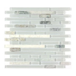 Stone & Co - All Marble Mosaic Glass and Stone blend Random Strip 12 x 12 Mosaic Tile Mag-444 - All Marble Mosaic Glass and Stone blend Random Strip 12 x 12 Mosaic Tile Mag-4444-ST