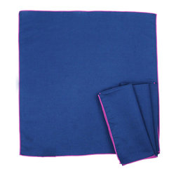 Calyz - Serge Stitch Navy Napkins, Set of 4 - These expertly handmade, hand-dyed napkins come to you straight from women artisans in India. The cotton and linen fabric is high-quality and easy to clean, and the simple yet stunning juxtaposition of navy fabric and bright magenta stitching is sure to bring extra style and excitement to your dining room table.  65% LINEN/35% COTTON