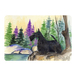 Caroline's Treasures - Scottish Terrier Kitchen or Bath Mat 24 x 36 - Kitchen or Bath Comfort Floor Mat This mat is 24 inch by 36 inch. Comfort Mat / Carpet / Rug that is Made and Printed in the USA. A foam cushion is attached to the bottom of the mat for comfort when standing. The mat has been permanently dyed for moderate traffic. Durable and fade resistant. The back of the mat is rubber backed to keep the mat from slipping on a smooth floor. Use pressure and water from garden hose or power washer to clean the mat. Vacuuming only with the hard wood floor setting, as to not pull up the knap of the felt. Avoid soap or cleaner that produces suds when cleaning. It will be difficult to get the suds out of the mat.