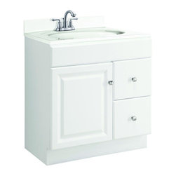 Design House - Design House Bathroom Wyndham 30 in. W x 18 in. D Unassembled Vanity Cabinet - This is the go-to 30 in. vanity for any bathroom that needs a splash of brightness. With a white semi-gloss finish and satin nickel hardware this sleek piece—with a shallow 18 in. depth—will give any powder room a crisp clean appearance. Assembly of the unit is quick and straightforward utilizing a frameless full-overlay blueprint to craft a classic cabinet with two drawers and one reversible door giving way to ample storage space within. The medium-density fiberboard used for this vanity is pressure-bonded with a Thermo foil coating giving it a uniform finish and water resistance to withstand years of high-humidity environs. Apply a modern contemporary flair to any bathroom with the Design House Wyndham vanity and consider an accompanying wall or medicine cabinet in white from the same collection (sold separately). Color: White Semi-Gloss.