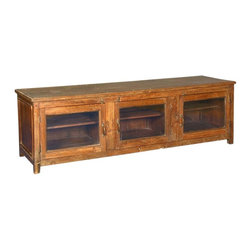 """Sierra Living Concepts - Sill Reclaimed Wood 3 Door TV Media Console - Celebrate the beauty and history of fine hardwood with our Sill 3-glass-door Media console. This 64"""" handmade entertainment console is built with reclaimed wood from Gujarat. The surface of old wood is authentically distressed over time, no stains or paints are added."""